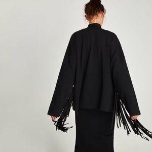 Zara Black Fringe Oversized Crewneck Sweatshirt M